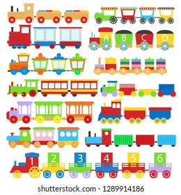 Cartoon Color Train Toy Children Signs Icon Set Different Types Isolated on a White Background. Vector illustration