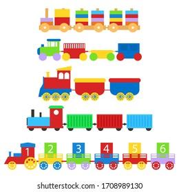 Cartoon Color Train Toy Children Set Concept. Vector illustration