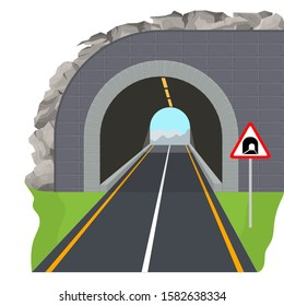 Cartoon Color Tunnel Highway Scene Concept Include of Road Sign and Asphalt Way Flat Design. Vector illustration