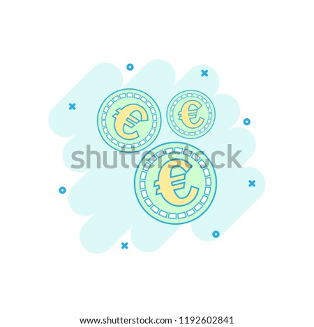 Cartoon Colored Euro Coins Icon Comic Stock Vector Royalty Free