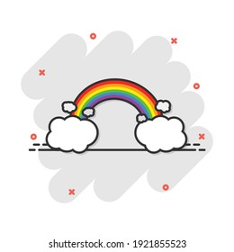 Cartoon colored rainbow with clouds icon in comic style. Weather illustration pictogram. Rainbow sign splash business concept.