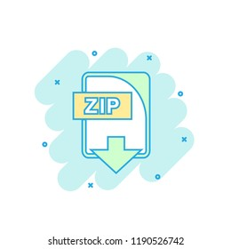 Cartoon colored ZIP file icon in comic style. Zip download illustration pictogram. Document splash business concept.