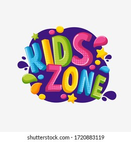 Cartoon colorful 3d logo kids zone isolated on white background. Bright bubble multicolored letters to children playroom or area decorating vector graphic illustration. Inscription of baby playground