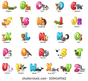 Cartoon colorful alphabet set with different animals