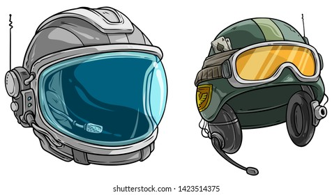 Cartoon colorful astronaut space protective helmet with clear glass visor. Modern army protective soldier helmet with glasses. Isolated on white background. Vector icon set.