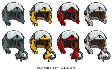 Cartoon colorful aviator pilot protective helmet with open glass visor and air mask. Isolated on white background. Vector icon set.
