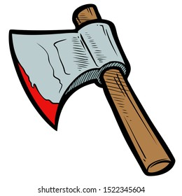 Cartoon colorful axe with wooden handle and bloody blade.
