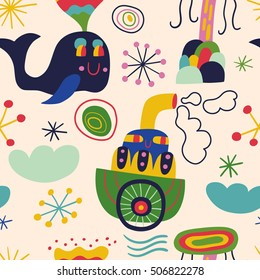 Cartoon colorful background with whale and ship. Seamless vector