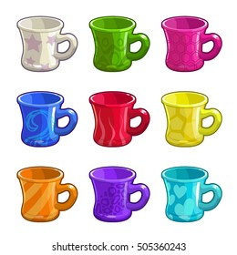 Cartoon colorful bright tea cup icons set. Isolated coffee mugs on white background