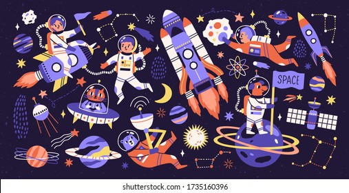 Cartoon colorful characters astronaut, asteroid, comet and space object set vector flat illustration. Collection of people and animals cosmonaut on rocket, ufo, planets and stars isolated on black