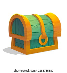 Cartoon colorful closed treasure chest for game interface. Wooden chest on white background. Locked dower chest. Vector illustration