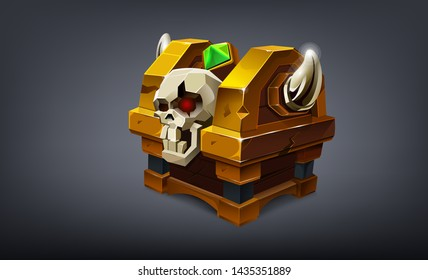 Cartoon colorful closed treasure chest with skull and horns. Vector illustration
