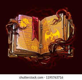 Cartoon colorful detailed old open magic spell books with dragons, strange symbols and bookmark. On background with tree roots. Vector icon.