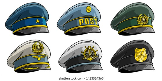 Cartoon colorful different peaked caps with cockade. Officer and postman. Policeman, pilot and sailor. Isolated on white background. Vector icon set.