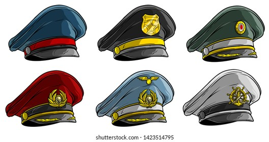 Cartoon colorful different peaked caps with cockade. Officer and postman. Policeman, pilot and sailor. Isolated on white background. Vector icon set. Vol. 2