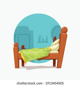 cartoon colorful double wooden bed with blue background
