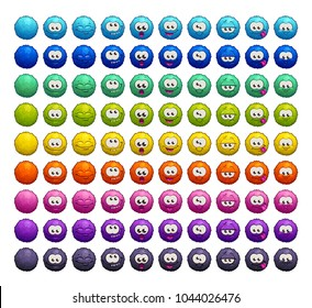 Cartoon colorful fluffy balls characters. Vector furry emoji stickers set. Isolated icons on the white background.