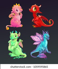 Cartoon colorful funny dragons set. Vector icons on dark background.