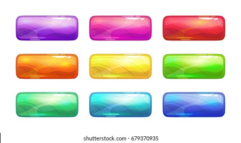 Cartoon colorful glossy long buttons set. Vector assets for game or web design.