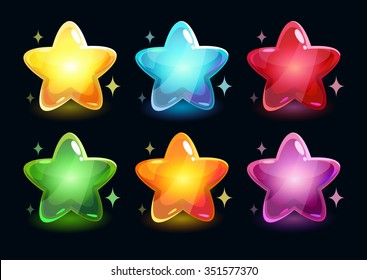 Cartoon colorful glossy stars on dark background, vector shiny icons