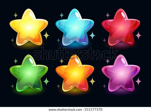 Cartoon colorful glossy stars on dark background, vector shiny icons