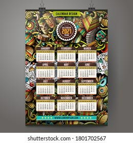 Cartoon colorful hand drawn doodles Latin America 2021 year calendar template. English, Sunday start. Very detailed, with lots of objects illustration. Funny vector artwork.