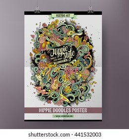 Cartoon colorful hand drawn doodles hippie poster template. Very detailed, with lots of objects illustration. Funny vector artwork. Corporate identity design.