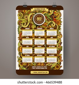 Cartoon colorful hand drawn doodles Africa 2017 year calendar template. English, Sunday start. Very detailed, with lots of objects illustration. Funny vector artwork.