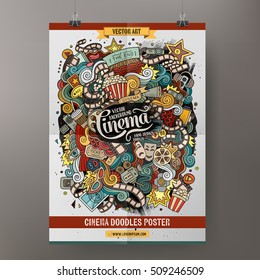 Cartoon colorful hand drawn doodles cinema poster template. Very detailed, with lots of objects illustration. Funny vector artwork. Corporate identity design.