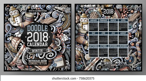 Cartoon colorful hand drawn doodles Winter 2018 year calendar template. English, Sunday start. Illustration with lots of elements. All objects are separated