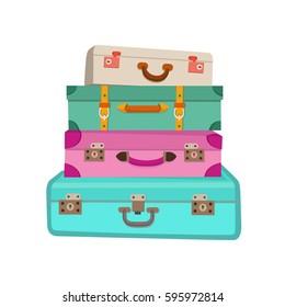 Cartoon colorful luggage vector illustration