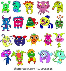 Cartoon colorful Monsters for Kids Big Collection. Funny imaginary monsters design elements clip art on white.