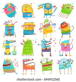 Cartoon colorful Monsters for Kids Big Collection. Funny imaginary monsters design elements clip art on white. EPS10 vector has no background color.