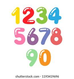 Cartoon colorful numbers set. Vector illustration
