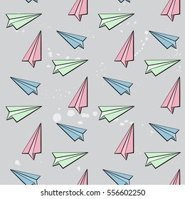 Cartoon colorful paper plan on gray background. Seamless pattern.