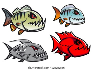 Cartoon colorful piranha fish characters with sharp jagged teeth in different designs, vector illustration