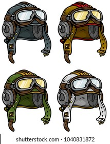 Cartoon colorful retro leather aviator pilot protective helmet. Isolated on white background. Vector icon set.