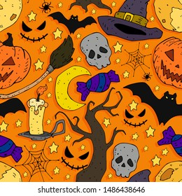 Cartoon colorful seamless festive pattern thematic elements on a neutral background. vector. Halloween.