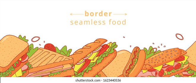 Cartoon colorful seamless pattern of appetizing sandwichs. Nice fastfood pattern for textile, cafe and restaurant wrapping paper, covers, banners, background, wallpaper.