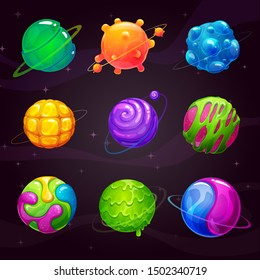 Cartoon colorful slime planets set. Fantasy alien slimy planet on the space background. Vector cosmic GUI assets pack.