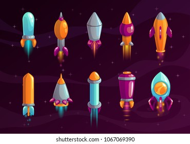 Cartoon colorful space missile set. Rocket shell assets for alien war game design. Vector icons on the cosmic background.