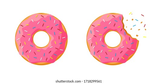 Cartoon colorful tasty donut whole and bitten set isolated on white background. Pink glazed doughnut top view for cake cafe decoration or bakery menu design. Vector flat illustration