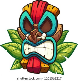 Cartoon colorful tiki mask with leaves. Vector clip art illustration with simple gradients. All in a single layer.