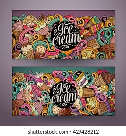 Cartoon colorful vector hand drawn doodles ice cream corporate identity. 2 Horizontal banners design. Templates set