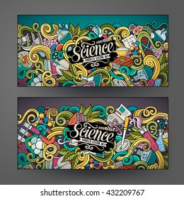 Cartoon colorful vector hand drawn doodles science corporate identity. 2 Horizontal banners design. Templates set