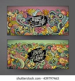 Cartoon colorful vector hand drawn doodles hippie corporate identity. 2 Horizontal banners design. Templates set