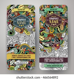 Cartoon colorful vector hand drawn doodles internet corporate identity. 2 vertical banners design. Templates set