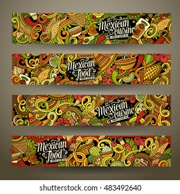 Cartoon colorful vector hand drawn doodles mexican cuisine corporate identity. 4 Horizontal banners design. Templates set