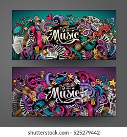 Cartoon colorful vector hand drawn doodles music corporate identity.2 horizontal banners design. Templates set