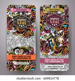 Cartoon colorful vector hand drawn doodles design artistic corporate identity. 2 vertical banners design. Templates set